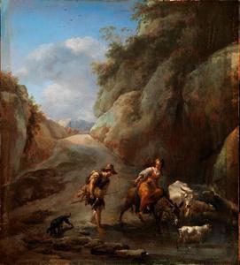Berglandschap met herder en vee