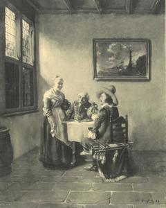 Twee rokende en drinkende mannen en een dienstmeisje in een Hollands interieur