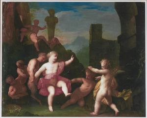 Spelende putti en saters in een klassieke ruïne