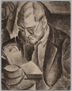 Portret van een lezende man