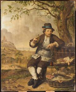 Rokende man met vis in landschap