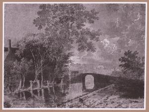 Gracht met brug, bij maanlicht