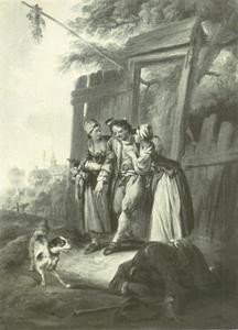 Twee vrouwen met een dronken man bij een poort
