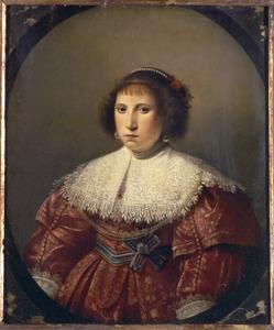 Portret van een jonge vrouw in een gemarmerd ovaal