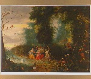 Boslandschap met allegorische voorstelling der vier elementen