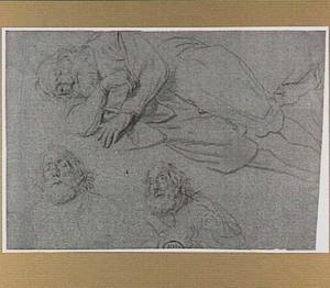 Slapende oude man met baard en studies van zijn bovenlijf