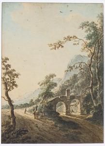 Bergachtig landschap met figuren bij een brug