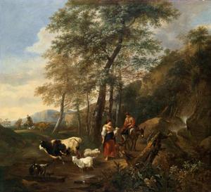 Italianiserend landschap met herderin en vee