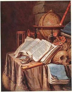 Vanitasstilleven met muziekinstrumenten, stokbeurs en opgeslagen boek