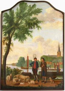 Gezicht op Nieuwerkerk aan de IJssel met op de voorgrond een schaapherder en een man met vlindernet