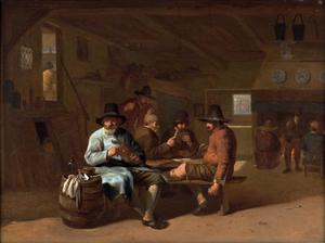 Herberginterieur met drinkende en kaartspelende mannen