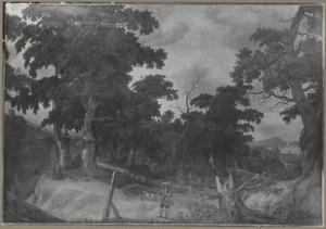 Bebost heuvellandschap met jagers