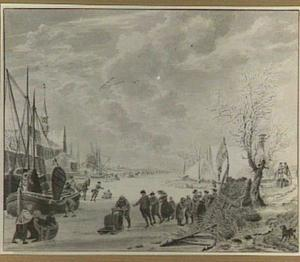 IJsgezicht met schaatsers op een bevroren rivier