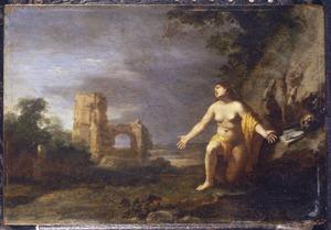 De boetvaardige Maria Magdalena in een landschap met ruïnes