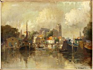 Nieuwe Haven te Dordrecht met zicht op de Grote of Onze-Lieve-Vrouwekerk