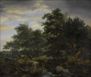 Boslandschap met herder en vee