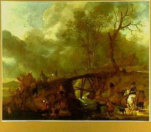 Duinlandschap met ruiters en reizigers bij een brug