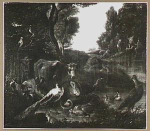 Het aardse paradijs en Eva die Adam het fruit aanreikt  (Genesis 2-3)