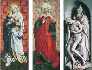 Maria met kind aan de borst (op de achterzijde: Mater Dolorosa, daterend uit de 17de eeuw); De H. Veronica met de zweetdoek; De H. Drieëenheid
