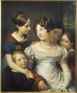Portret van Maria Stefania van Nellesteyn (1785-1826) met vier van haar kinderen