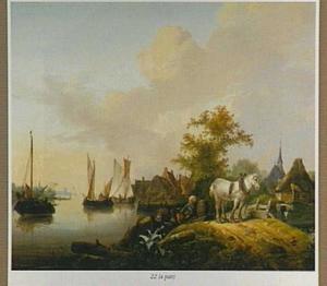 Rivierlandschap met zeilboten, op de voorgrond een sleperspaard en twee een ton uitladende mannen