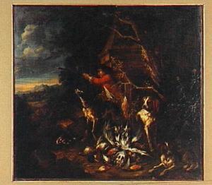 Jager schiet op gevogelte; aan zijn voeten buit van gevogelte en drie honden