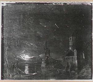 Landschap bij maanlicht met kreeftenvangers in een boot nabij een versterkte stad