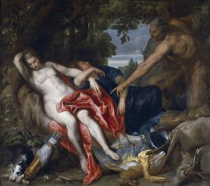 De slapende Diana door Pan bespied (Vergilius, Georgica)