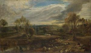 Weids landschap met een rustende herder en zijn kudde schapen
