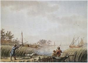 Rivierlandschap met jager en vissers
