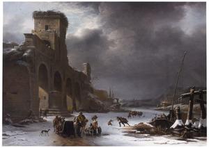 Winterlandschap met gezicht op de Ponte Molle (Milvio) bij Rome