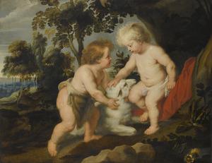 Christus en Johannes de Doper als kinderen in een arcadisch landschap
