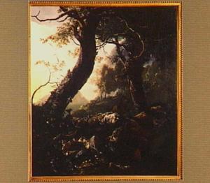 Zuidelijk boslandschap met jager