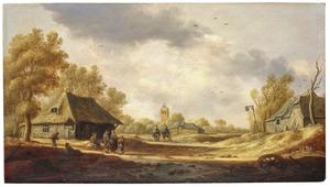 Landschap met boeren en rutiers bij boerderijen