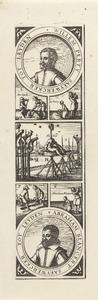 Portretten van Willem Perty (....-1623) en Abraham Blansaert (....-1623) en afbeeldingen van hun terechtstelling