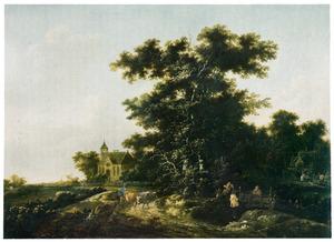 Bosachtig landschap met veedrijver met zijn kudde, in de verte een kerk