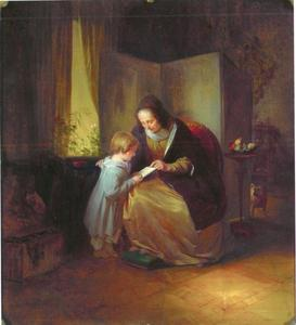 Grootmoeder leert haar kleinkind lezen