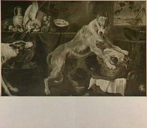 Twee honden, waarvan een met de poten op een koeienkop, bij een stilleven