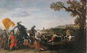 Een gevecht tussen de cavalerie en de infanterie in een landschap met een stad op de achtergrond