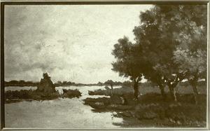 Een visser langs de waterkant bij Noorden