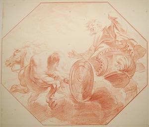 De profeet Elia wordt ten hemel opgenomen door een strijdwagen met paarden van vuur in een wervelwind. Zijn mantel valt naar beneden, waar Elisa hem opraapt (2 Koningen 2:11-13)