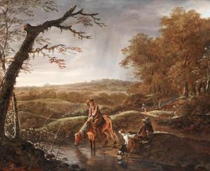Rustende jagers met hun honden bij een beek