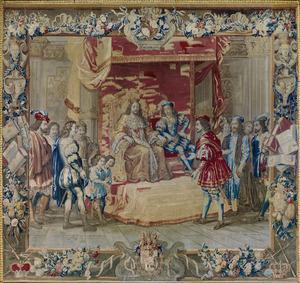 Guglielmo Raimondo Moncada graaf van Augusta spreekt met de koning van Aragon en stelt zich garant voor de door hem in bescherming genomen konigin