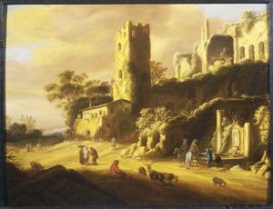 Zuidelijk landschap met klassieke ruïnes