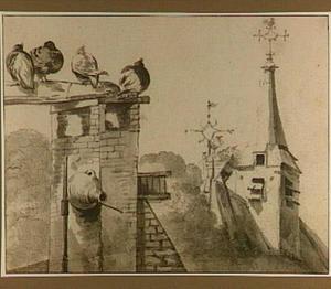 Duiven op een schoorsteen en ooievaarsnest op dak van een kerk
