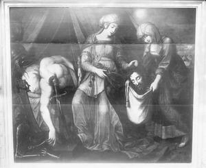 udith en haar dienares stoppen Holofernes hoofd in een zak(Judith 13:11)