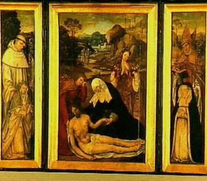 Drieluik met de bewening van Christus met stichtersportretten met schutpatronen