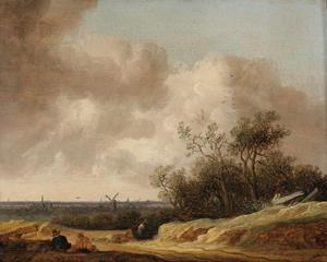 Duinlandschap met rustende figuren, aan de horizon Haarlem