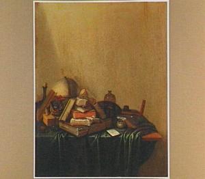 Stilleven met boeken en een globe op een tafel