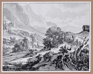 Berglandschap met blokhut en herder met vee